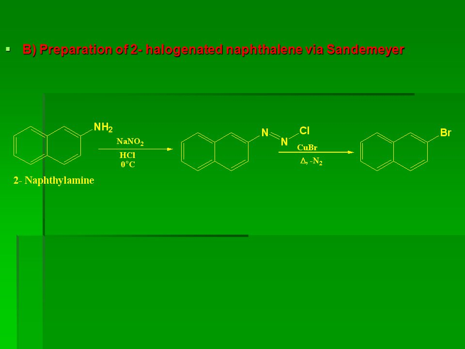 B) Preparation of 2- halogenated naphthalene via Sandemeyer