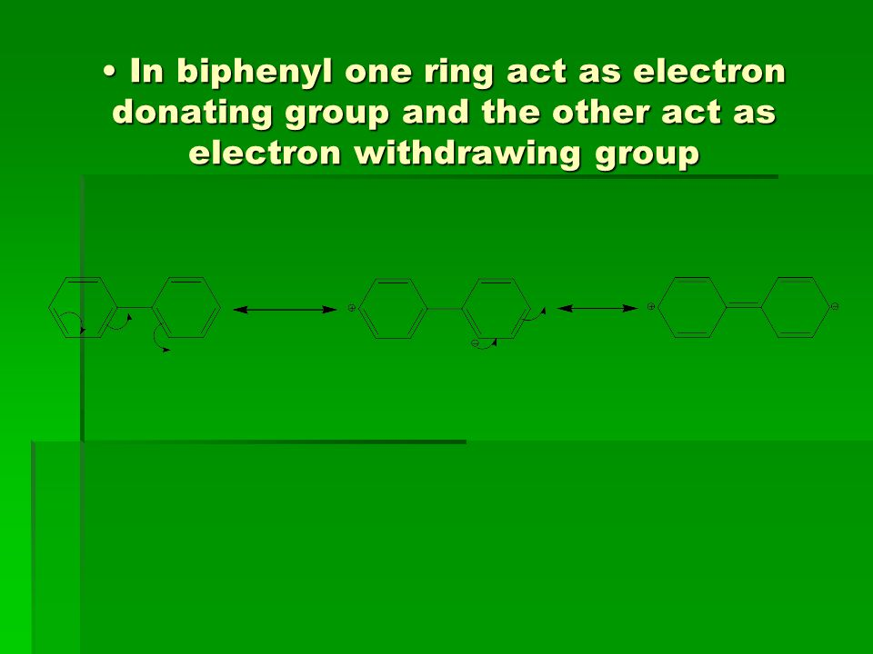 In biphenyl one ring act as electron donating group and the other act as electron withdrawing group
