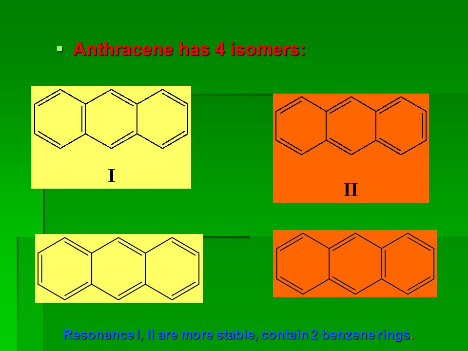 Resonance I, II are more stable, contain 2 benzene rings.