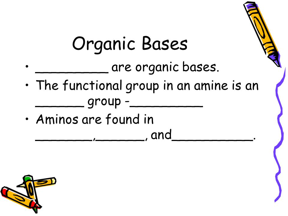 Organic Bases _________ are organic bases.