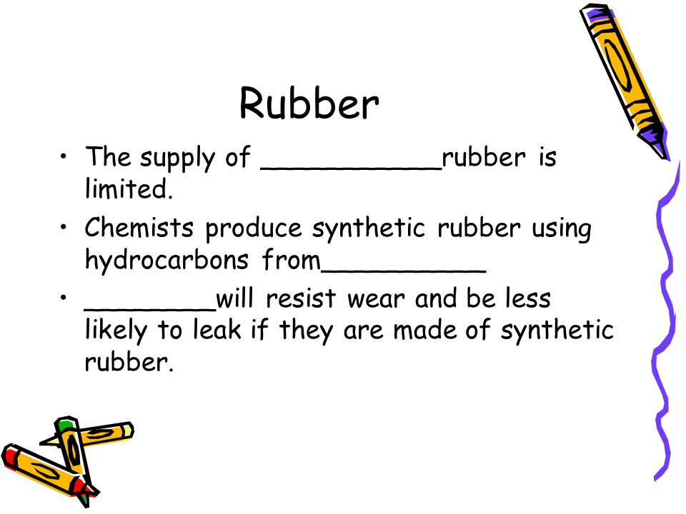 Rubber The supply of ___________rubber is limited.