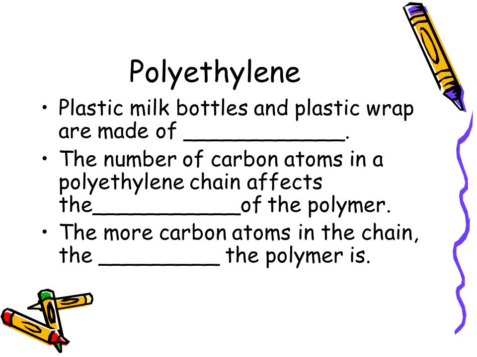 Polyethylene Plastic milk bottles and plastic wrap are made of ____________.