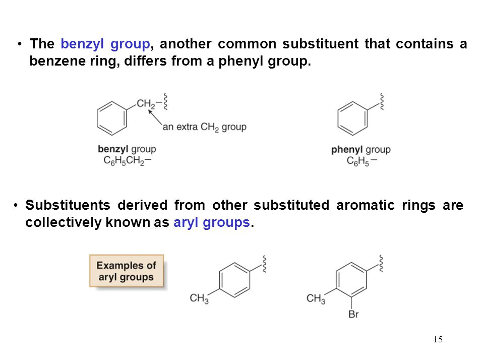 The benzyl group, another common substituent that contains a benzene ring, differs from a phenyl group.