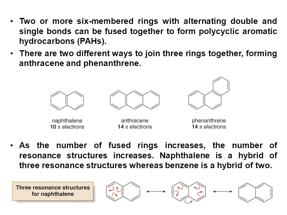 Two or more six-membered rings with alternating double and single bonds can be fused together to form polycyclic aromatic hydrocarbons (PAHs).
