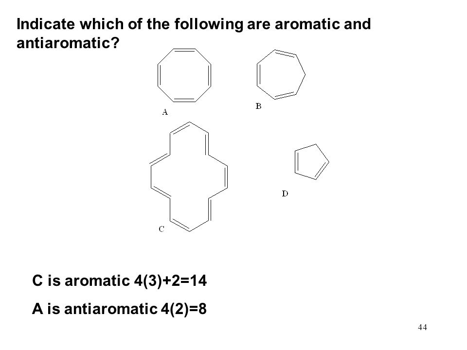 Indicate which of the following are aromatic and antiaromatic