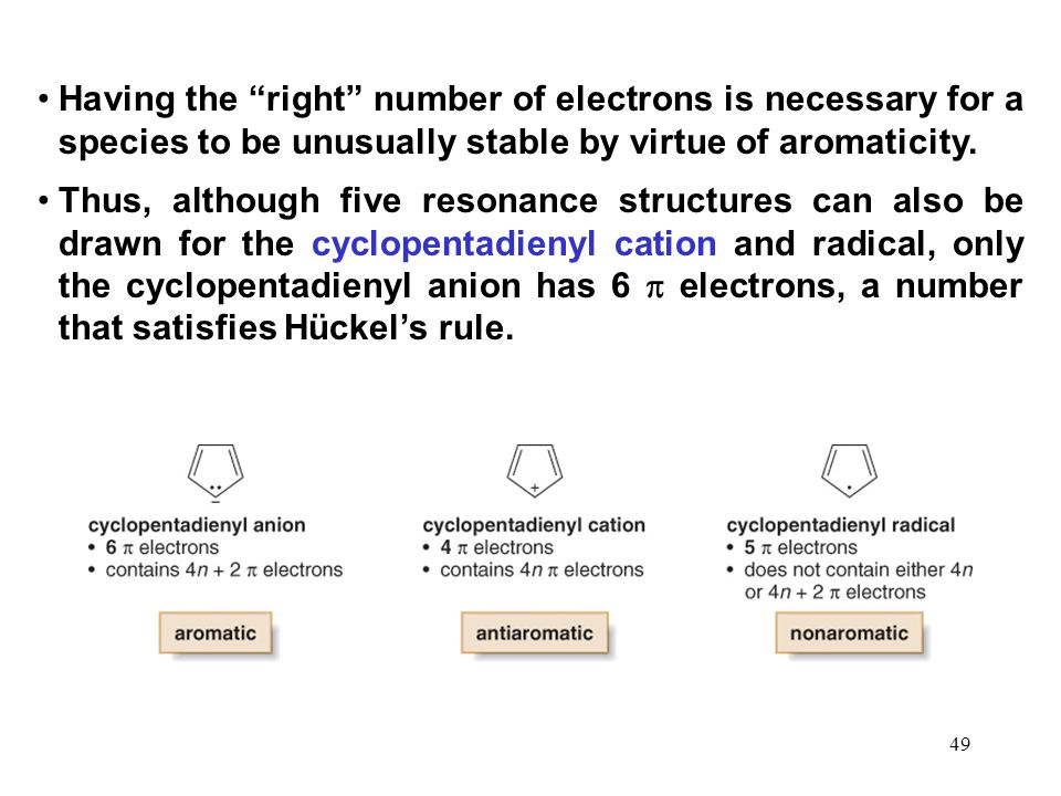 Having the right number of electrons is necessary for a species to be unusually stable by virtue of aromaticity.