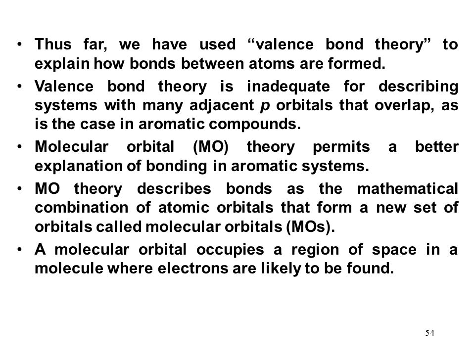 Thus far, we have used valence bond theory to explain how bonds between atoms are formed.