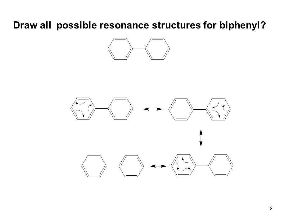 Draw all possible resonance structures for biphenyl