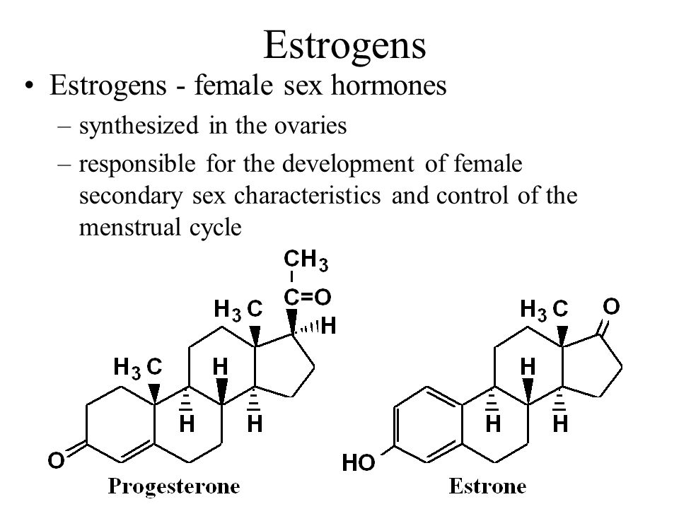 Estrogens Estrogens - female sex hormones synthesized in the ovaries