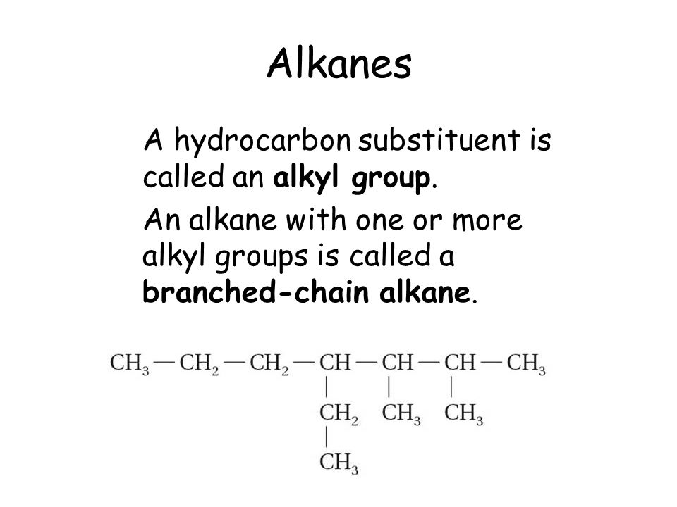 Alkanes A hydrocarbon substituent is called an alkyl group.