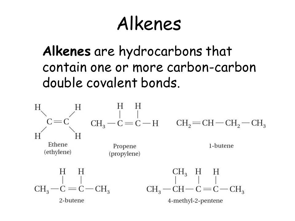 Alkenes Alkenes are hydrocarbons that contain one or more carbon-carbon double covalent bonds.