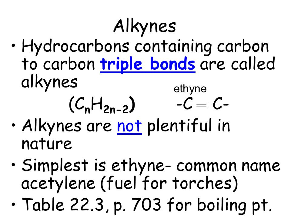Alkynes Hydrocarbons containing carbon to carbon triple bonds are called alkynes. (CnH2n-2) -C C-