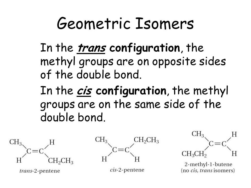 Geometric Isomers In the trans configuration, the methyl groups are on opposite sides of the double bond.