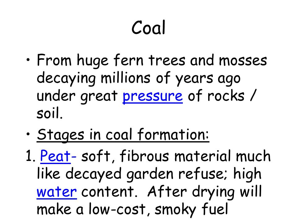 Coal From huge fern trees and mosses decaying millions of years ago under great pressure of rocks / soil.