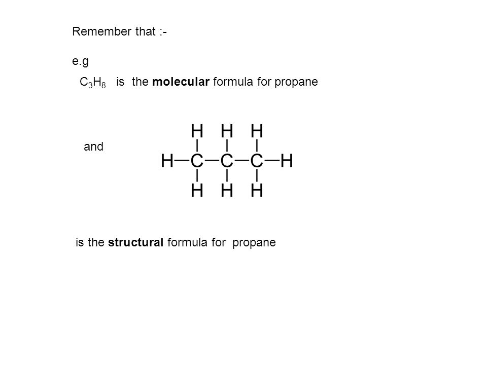 Remember that :- e.g. C3H8 is the molecular formula for propane.