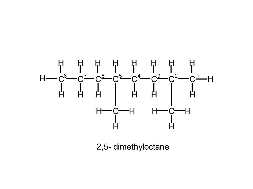 H C 8 6 1 5 4 3 7 2 2,5- dimethyloctane