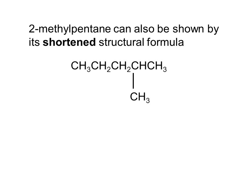 2-methylpentane can also be shown by its shortened structural formula