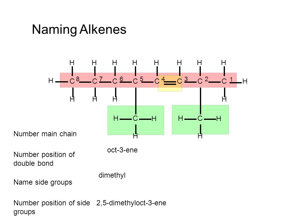 Naming Alkenes H C Number main chain oct-3-ene
