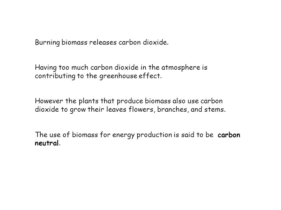 Burning biomass releases carbon dioxide.