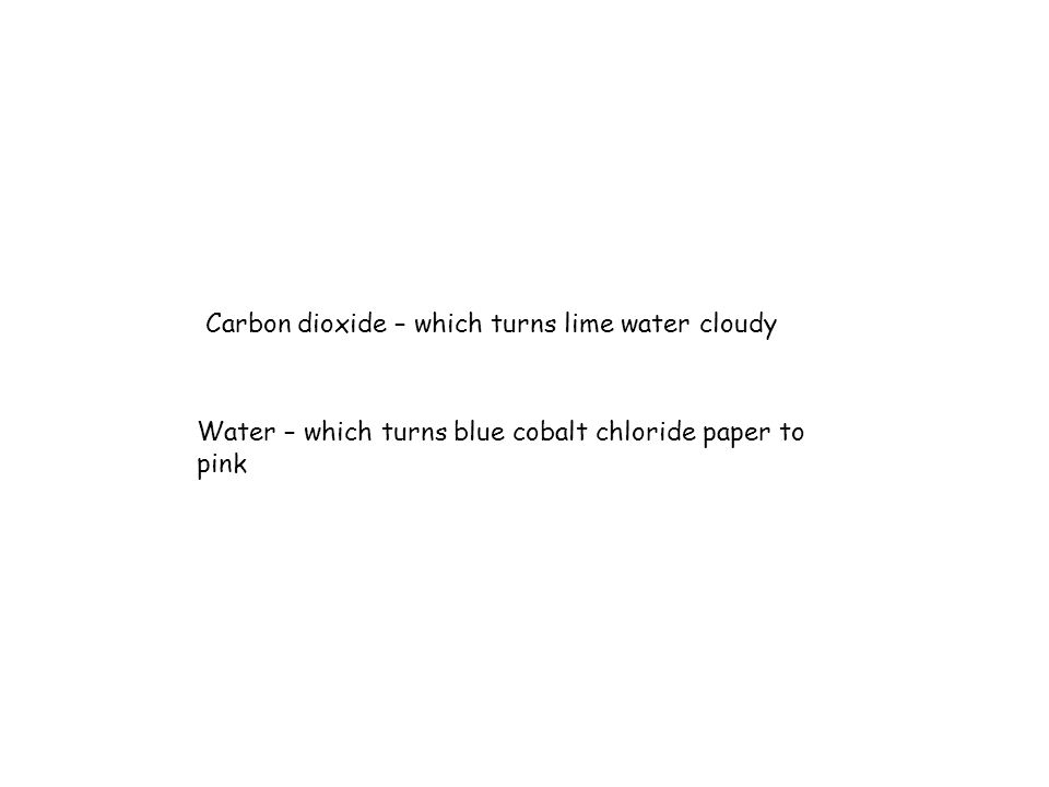 Carbon dioxide – which turns lime water cloudy