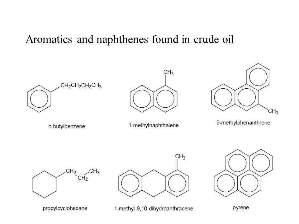 Aromatics and naphthenes found in crude oil