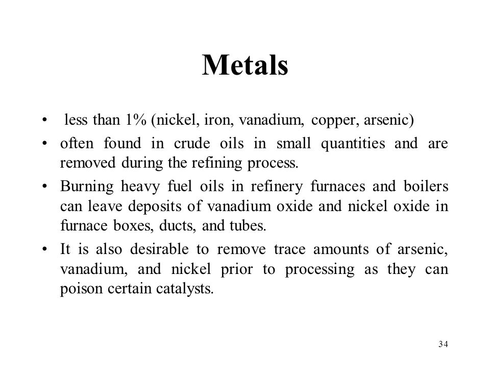 Metals less than 1% (nickel, iron, vanadium, copper, arsenic)