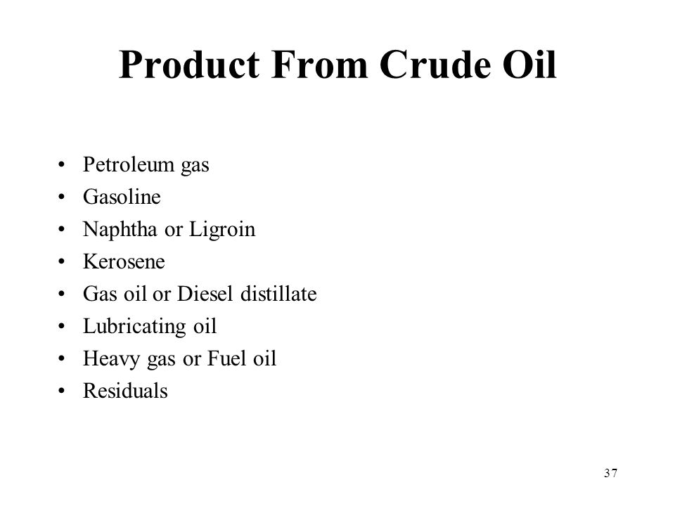 Product From Crude Oil Petroleum gas Gasoline Naphtha or Ligroin