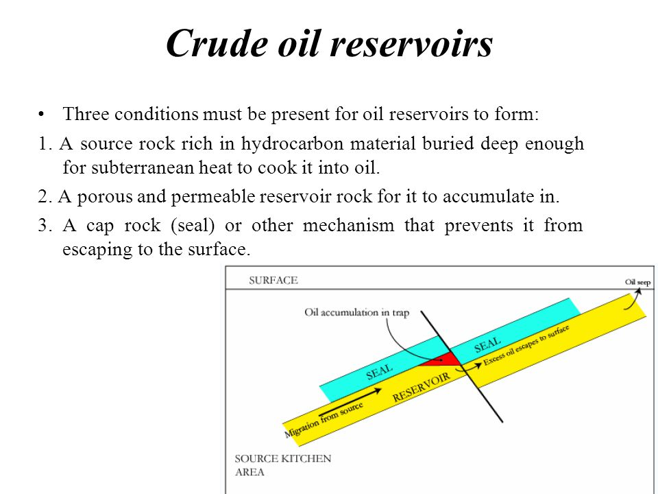Crude oil reservoirs Three conditions must be present for oil reservoirs to form:
