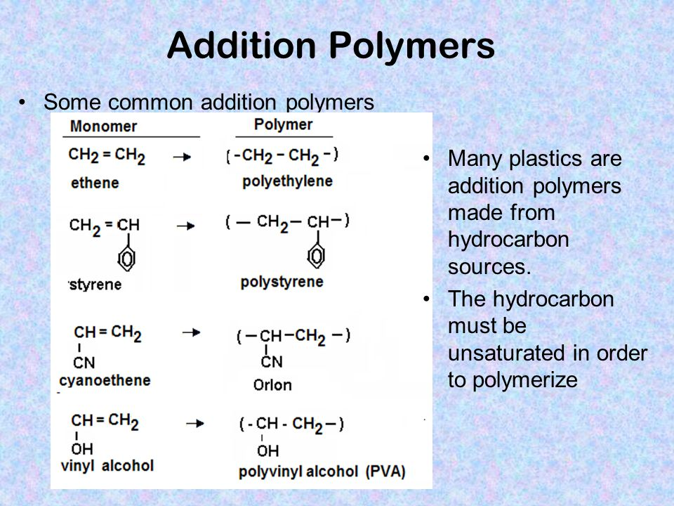 Addition Polymers Some common addition polymers