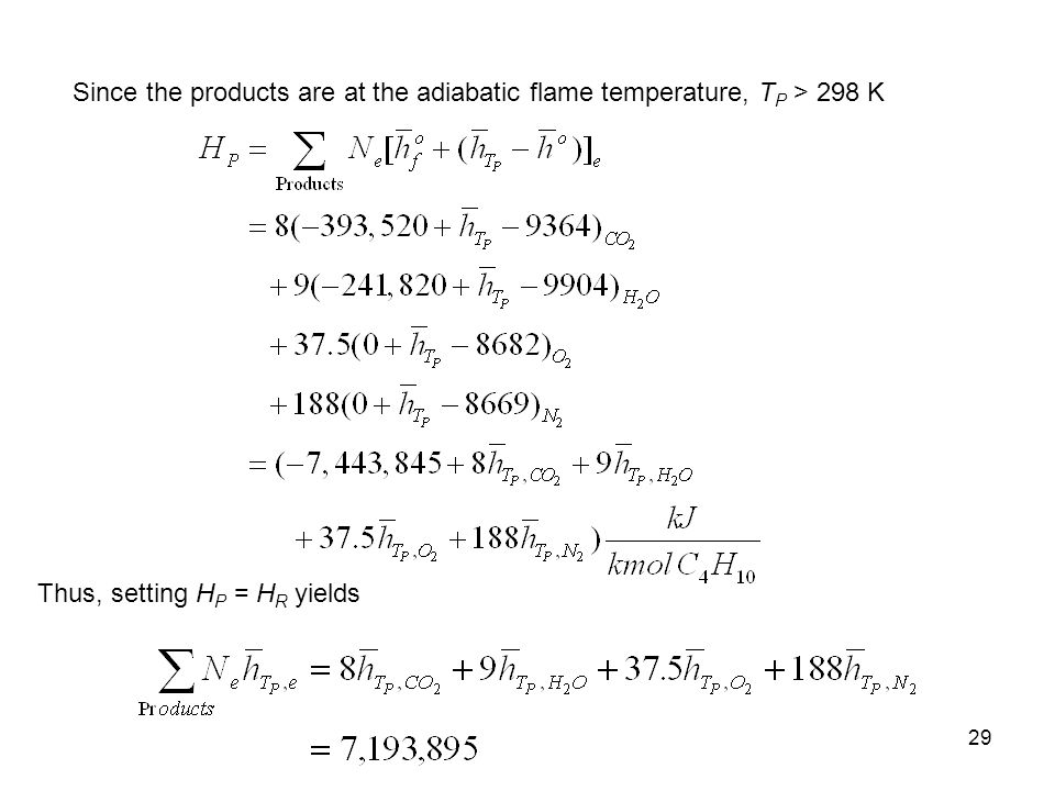 Since the products are at the adiabatic flame temperature, TP > 298 K