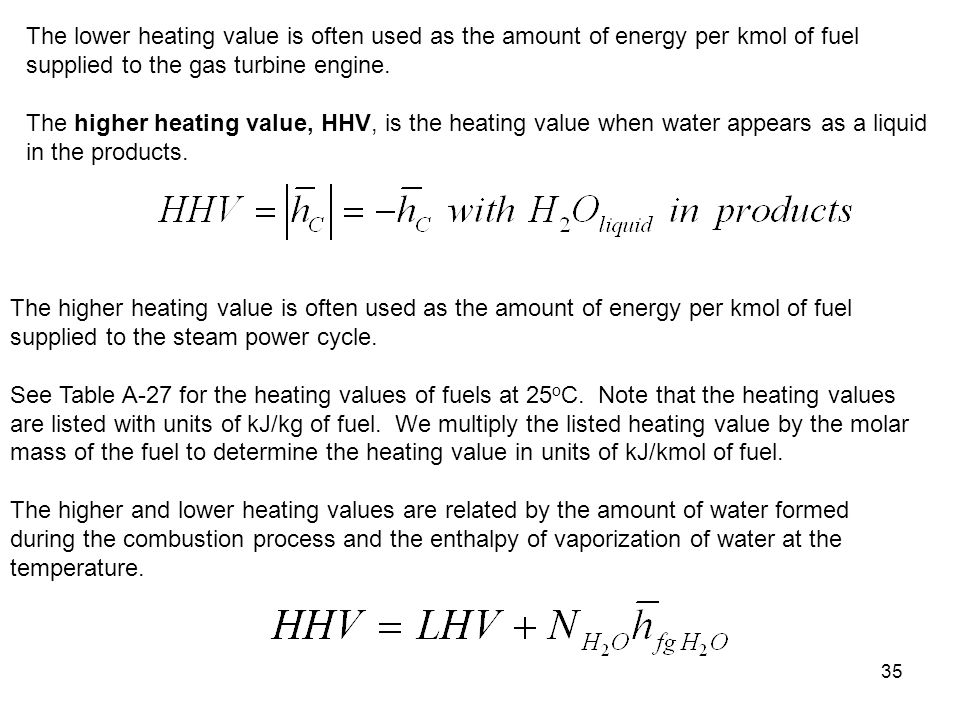 The lower heating value is often used as the amount of energy per kmol of fuel supplied to the gas turbine engine.