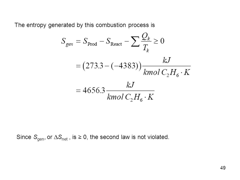 The entropy generated by this combustion process is