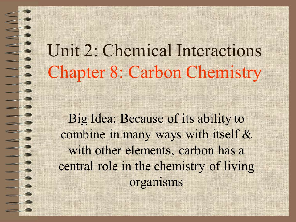 Unit 2: Chemical Interactions Chapter 8: Carbon Chemistry