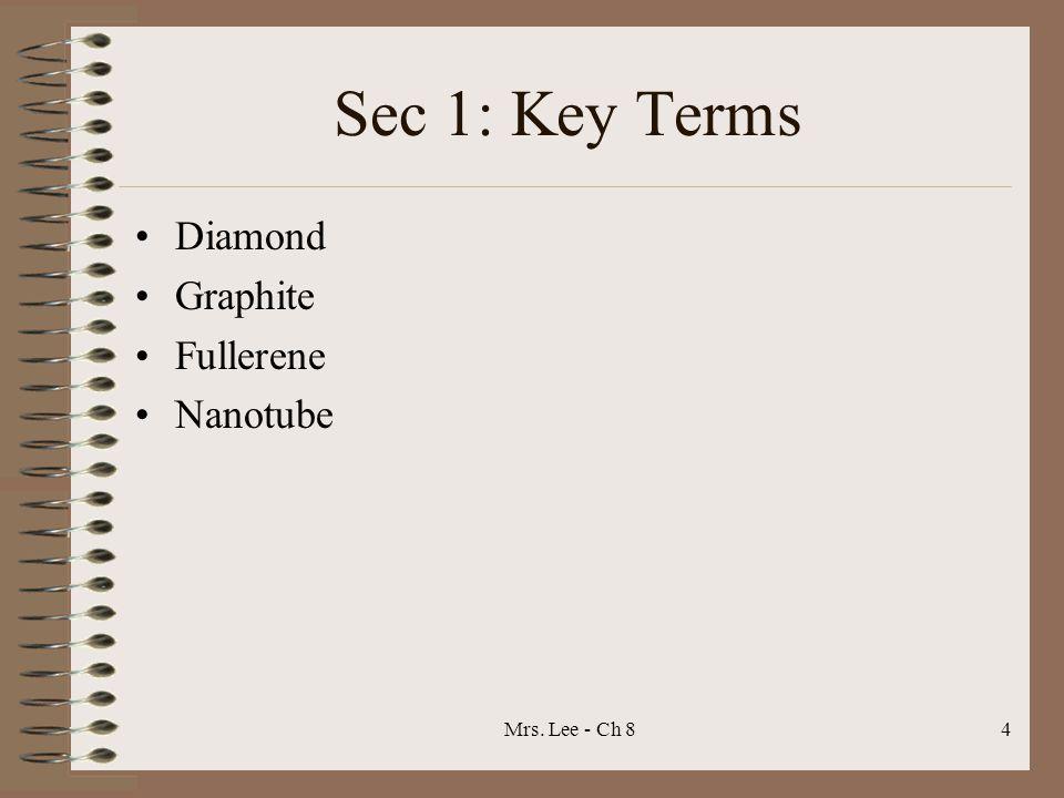 Sec 1: Key Terms Diamond Graphite Fullerene Nanotube Mrs. Lee - Ch 8