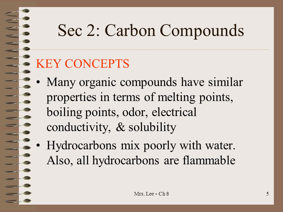 Sec 2: Carbon Compounds KEY CONCEPTS