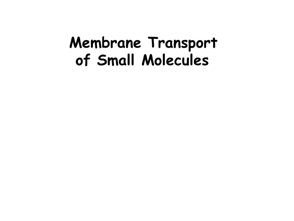 Membrane Transport of Small Molecules