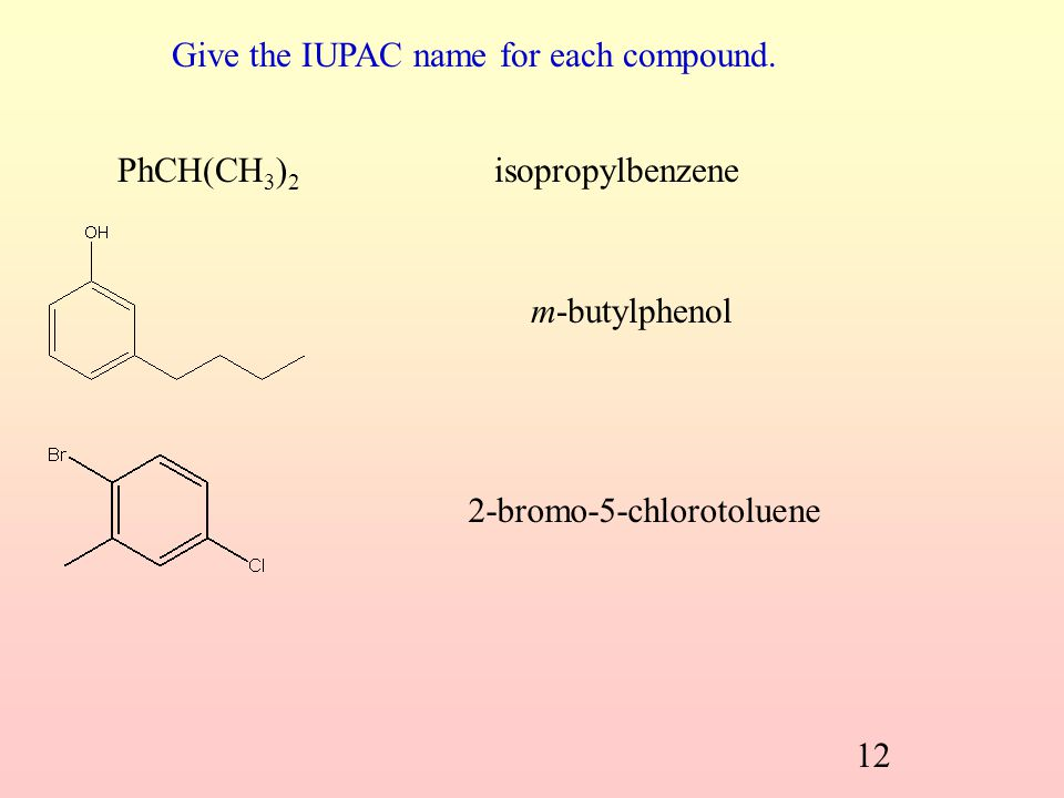 Give the IUPAC name for each compound.