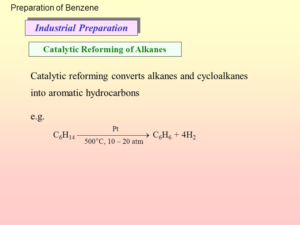 Industrial Preparation Catalytic Reforming of Alkanes