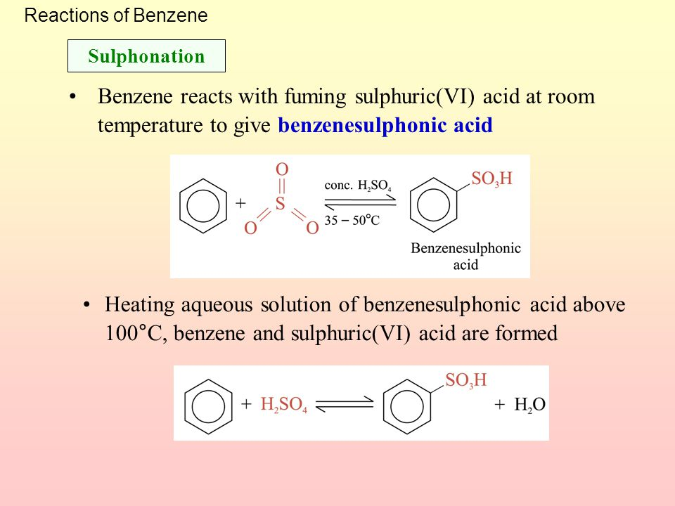 Reactions of Benzene Sulphonation. Benzene reacts with fuming sulphuric(VI) acid at room temperature to give benzenesulphonic acid.