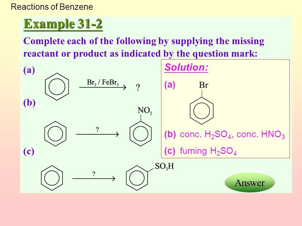 Reactions of Benzene Example 31-2. Complete each of the following by supplying the missing reactant or product as indicated by the question mark: