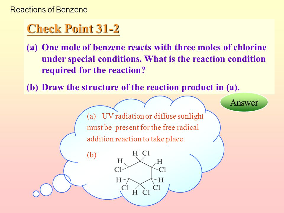 Reactions of Benzene Check Point 31-2.