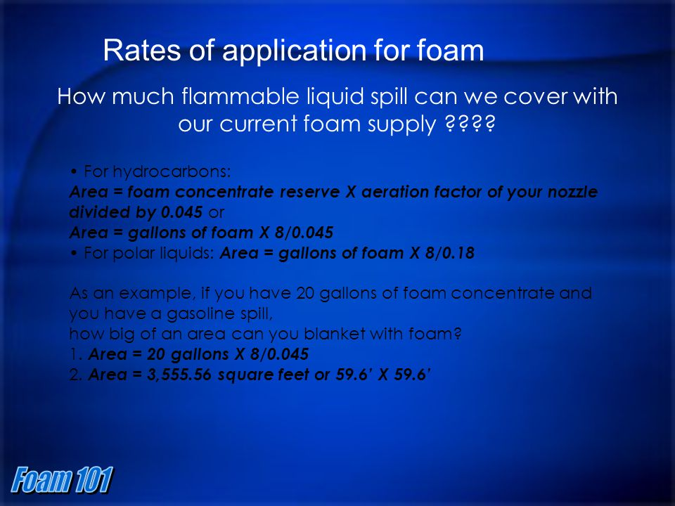 Rates of application for foam