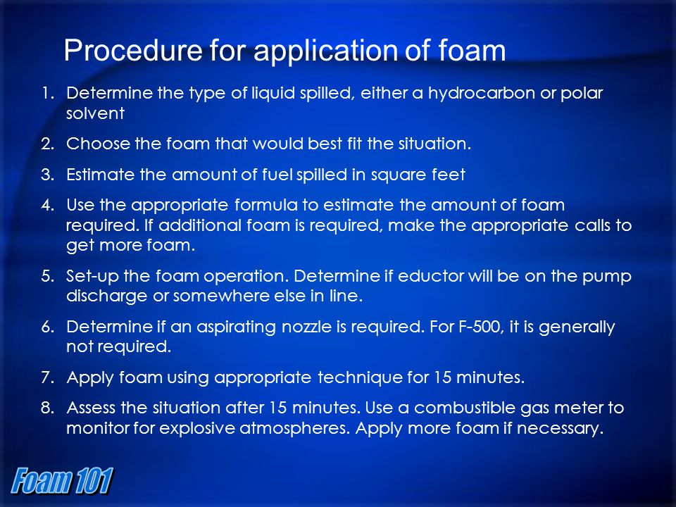 Procedure for application of foam