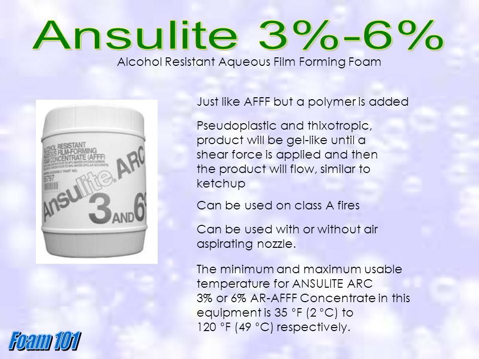 Ansulite 3%-6% Alcohol Resistant Aqueous Film Forming Foam