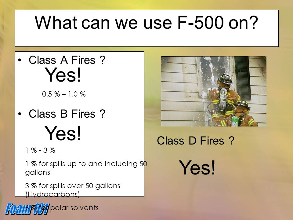 Yes! Yes! Yes! What can we use F-500 on Class A Fires