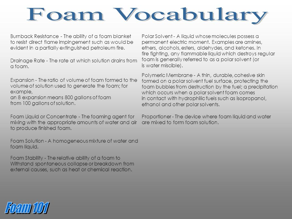 Foam Vocabulary Burnback Resistance - The ability of a foam blanket