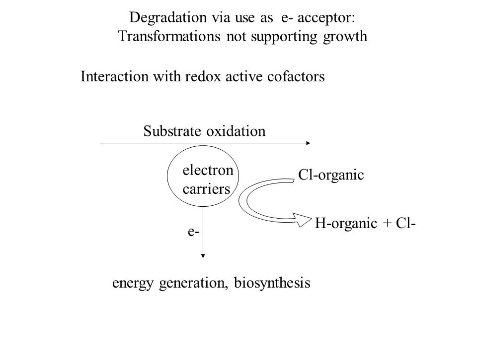 Degradation via use as e- acceptor: Transformations not supporting growth