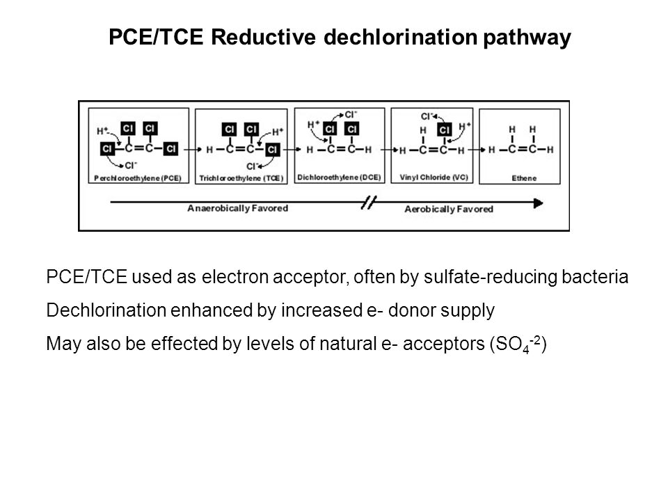 PCE/TCE Reductive dechlorination pathway
