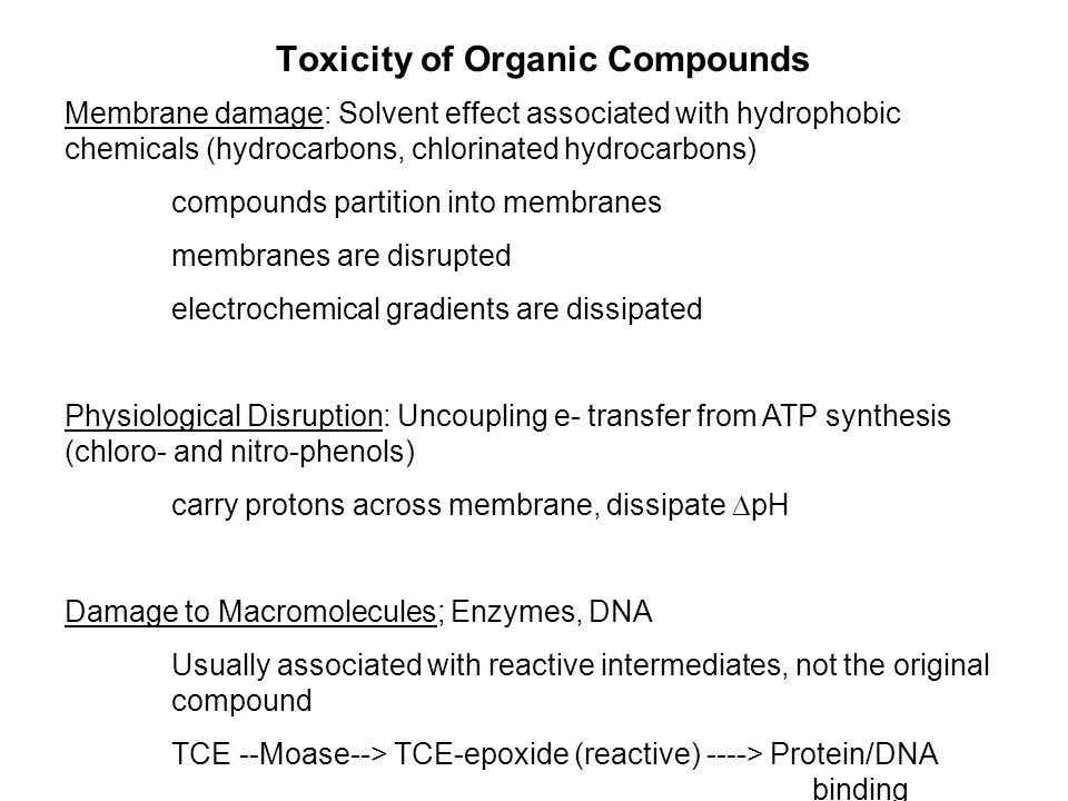 Toxicity of Organic Compounds