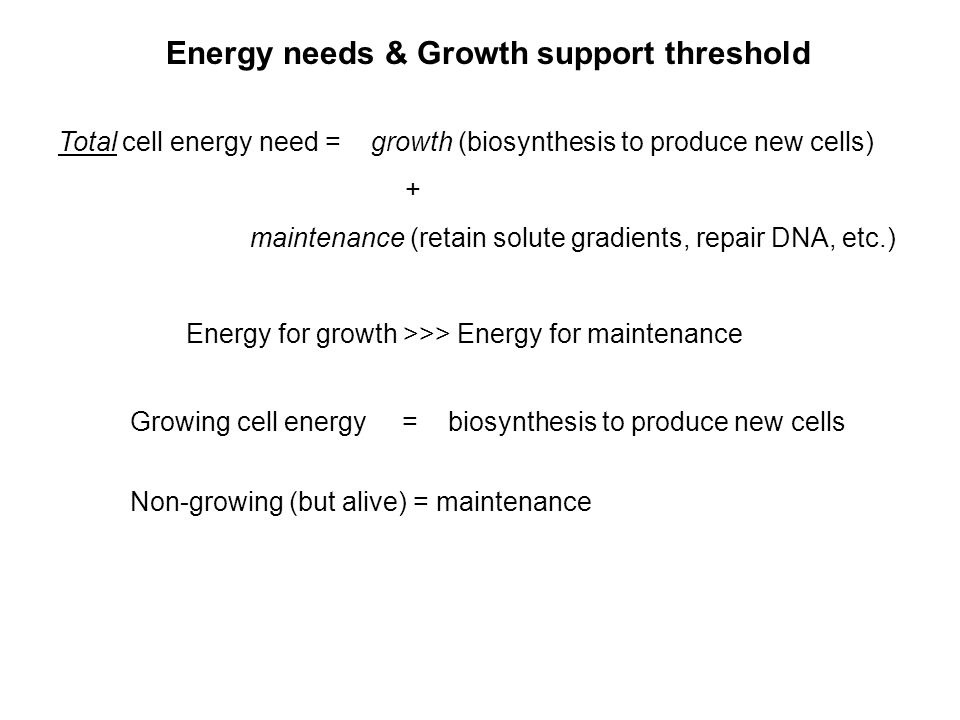 Energy needs & Growth support threshold